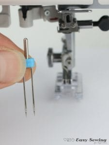 twin needle ready to be inserting into the sewing machine