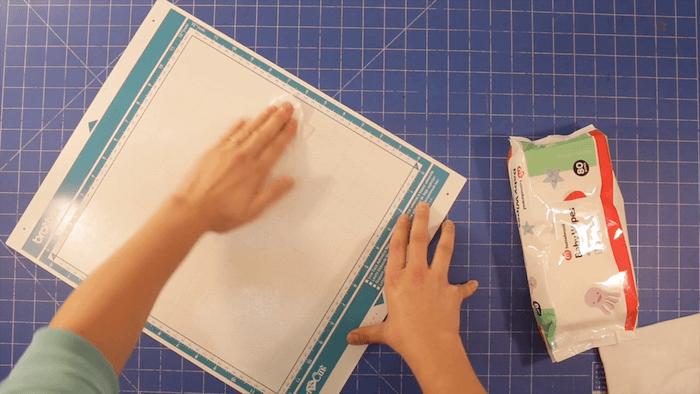 02 wipe over ScanNCut Mat applying gentle pressure