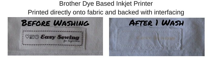 Comparing Wash Brother Dye based inkjet printed directly onto fabric and backed with interfacing