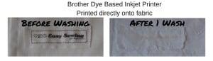 Comparing Wash Brother dye based inkjet onto fabric