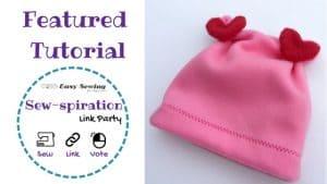 Sew-spiration featured tutorial Valentines fleece hat