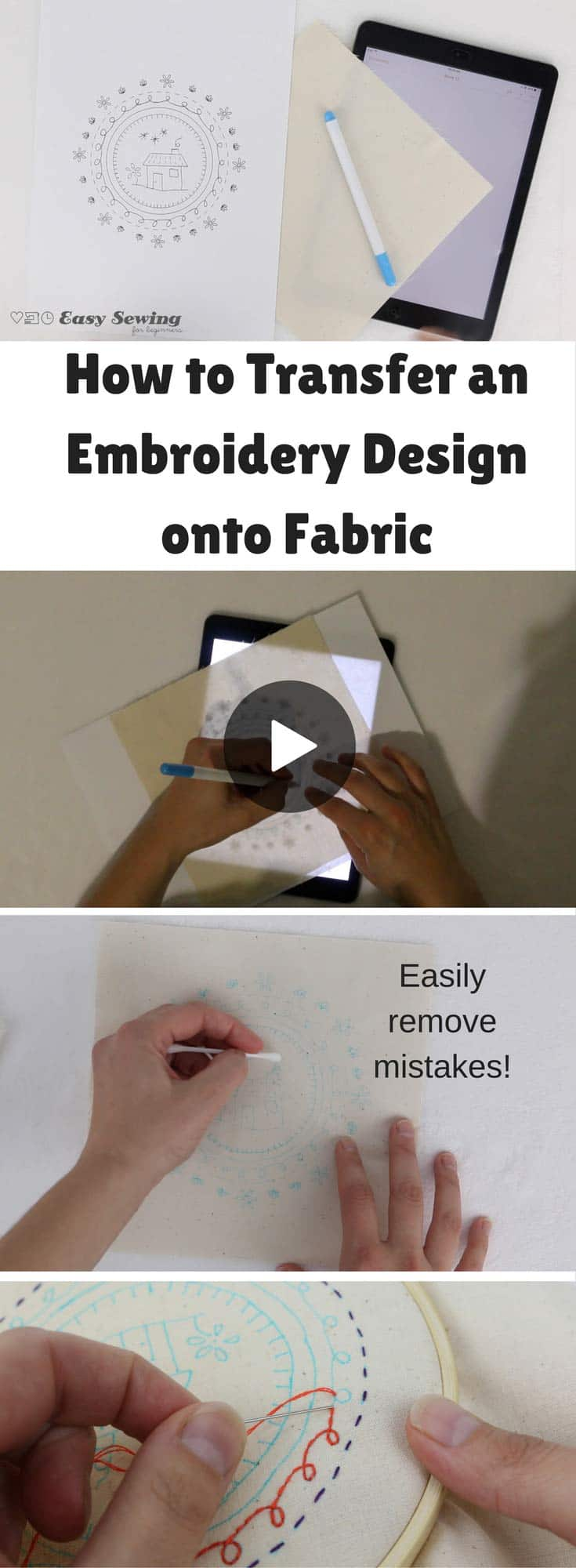How to Transfer an Embroidery Design onto Fabric - Method 1