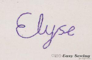 elyse backstitched name