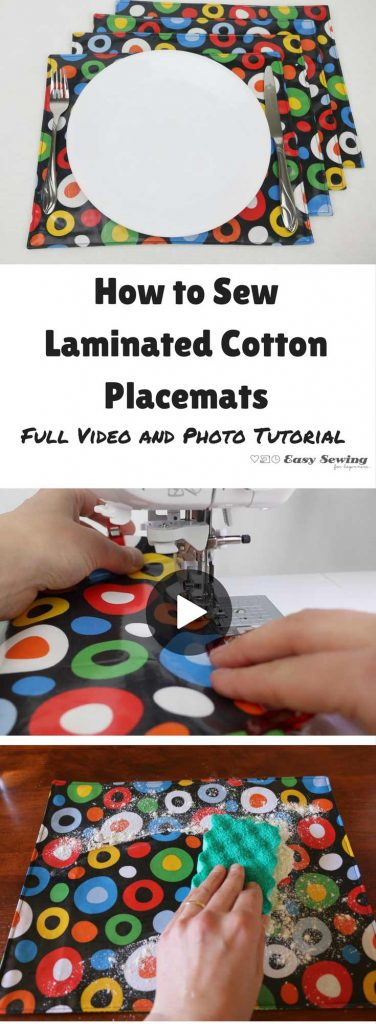 How to sew laminated cotton placemats. Full video and photo tutorial.