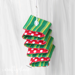 Fabric Ribbon Candy Ornament from Crafty Staci with watermark